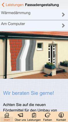Apmato-made-app des Malerfachbetriebs Westermann & Co. KG in Mühlen, Westfalen, Norddeutschland ❧ Fassadengestaltung combines screen with browsing and content elements.