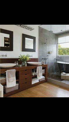 I think its a masculine bathroom nice! Laundry In Bathroom, Bathroom Renos, Bathroom Furniture, Master Bathroom, Bad Inspiration, Bathroom Inspiration, Wc Decoration, Masculine Bathroom, Bathroom Modern