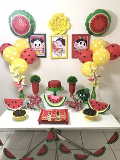 Baby Shower Watermelon, Watermelon Birthday Parties, Alice, Foto Baby, Birthday Decorations, Party Planning, Girl Birthday, Tea Party, Diy And Crafts