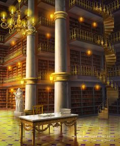 Golden Library by Sunny Painter Fantasy City, Fantasy Castle, Fantasy Places, Medieval Fantasy, Epic Backgrounds, Episode Interactive Backgrounds, Episode Backgrounds, Desenhos Love, Anime Places