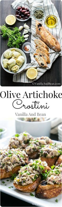 Quick and Easy Olive Artichoke Crostini. A fabulous make ahead appetizer.  | Vanilla And Bean