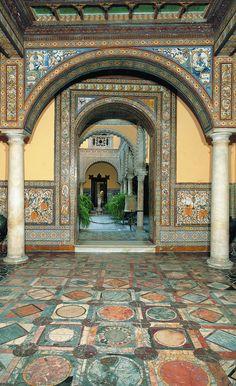Interior of Palacio de la Condesa de Lebrija (16th century), Seville, Spain.