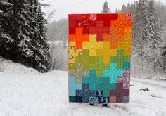 Rainbow Plus Baby Quilt by CoraQuilts~Carla, via Flickr