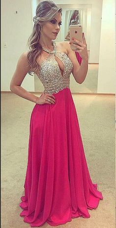 Sexy Chiffon Prom Dress, Backless Long Prom Dresses with Crystal, Sleeveless Evening Dress