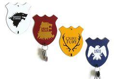 Key Rack - Song of Ice and Fire House Sigils - Stark, Arryn, Lannister, Baratheon, Game of Thrones Sigils, Handmade Home Decor. $34.00, via Etsy.