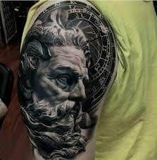 What does poseidon tattoo mean? We have poseidon tattoo ideas, designs, symbolism and we explain the meaning behind the tattoo. New Tattoo Designs, Tattoo Sleeve Designs, Sleeve Tattoos, Tattoo Sleeves, Zeus Tattoo, Statue Tattoo, God Tattoos, Forearm Tattoos, Tatoos