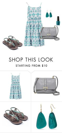 """""""Teal beauty"""" by plaka-sandals ❤ liked on Polyvore featuring Boohoo, FOSSIL, Kim Rogers and OPI"""