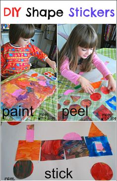 DIY Shape Stickers - We used paint and contact paper to make these fun, frugal stickers.
