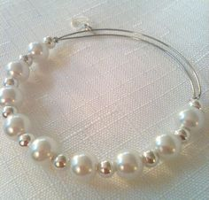 Inspired Expandable White Pearl and Silver Plated Ball Bangle