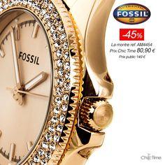Bon Plan pour Elle (vous !)  ----> Une montre Fossil pile dans la tendance : lunette sertie d'un double rang de strass et bracelet en acier poli, le tout dans les tons or rose comme vous les aimez... à -46% ! ----> http://www.chic-time.com/montres-femme/38798-montre-femme-fossil-retro-traveler-am4454-4051432845512.html