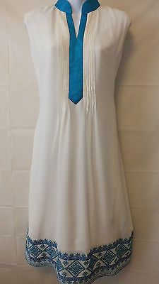 White and Blue Shalwar Kameez Dress. Simple and pretty