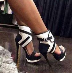 High Quality Contrast Colour PU Ankle Strap Platform Sandals  Stiletto Sandals