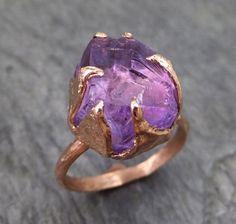Amethyst Rose Gold Ring Purple Gemstone Recycled 14k rose Gold Gemstone Cocktail Statement ring