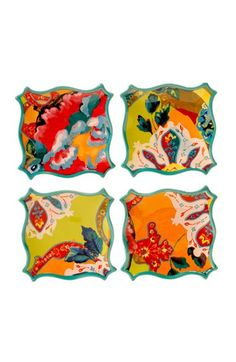 Free shipping and returns on POETIC WANDERLUST Tracy Porter® For Poetic Wanderlust® 'Scotch Moss' Canapé Plates (Set of 4) at Nordstrom.com. Curvy sea-foam green edges frame colorful canapé plates with vibrant vintage-inspired colors and folkloric patterns designed by Tracy Porter.