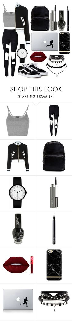 """Untitled #96"" by chica1622 ❤ liked on Polyvore featuring Topshop, WithChic, Moschino, Madden Girl, MAC Cosmetics, NARS Cosmetics, Lime Crime, Richmond & Finch and Vinyl Revolution"
