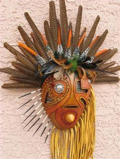 Gourd mask by Hal Sager. Native American Masks, Native American Decor, Ceramic Mask, Decorative Gourds, Mask Painting, African Sculptures, Rum, Soul Art, Art Journal Inspiration
