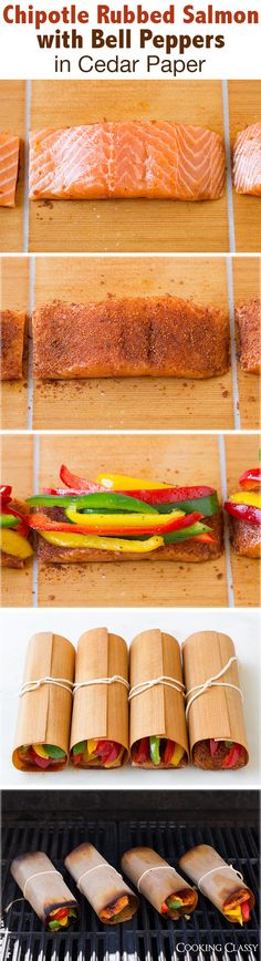Chipotle Rubbed Salmon with Bell Peppers in Cedar Paper - Could also be grilled in foil. This was one of my favorite salmon recipes!! Easy to make and loved the flavors!