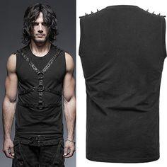 Men Black Spike Steam Punk Rock Fashion Tank Top Clothing SKU-11409347