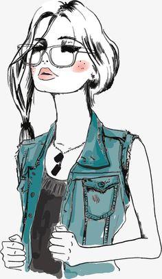Desenho de menina com óculos, Ilustração De UMA Mulher, As Personagens De Quadrinhos, Mulher MulherPNG e Vector
