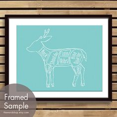 Venison Butcher Chart Exotic Meats Collection  8x10 by TheWordShop, $12.95