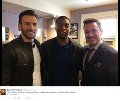 Robert Downey Jr. tweeted this backstage photo of himself with Chris Evans and Chadwick Boseman during the Marvel announcement event at the El Capitan Theater, Hollywood, Oct. 28, 2014.