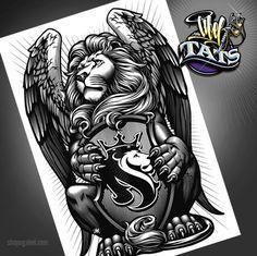 Winged lion tattoo - photo#26