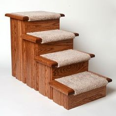 Order the Premier Pet Steps 4-Step Carpeted dog stairs today from Play Safe Pet Stairs. Supports 300 lbs! Veterinarian recommended. Order today for healthy dog!