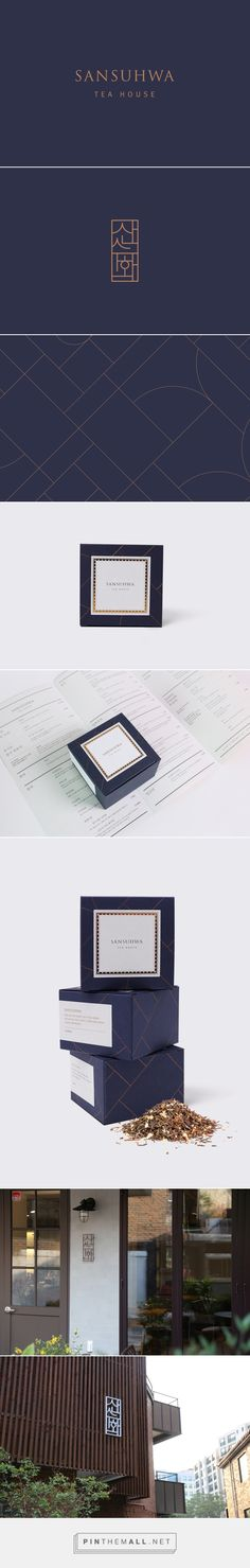Sansuhwa Tea House | It is our intention in this work to symbolize the blending of Korean Hangul typography with splendid scenery of the mountain and river which has expressed in Sansuhwa. Also, we have used to extend some of this symbols with harmony of straight lines and curves into patterns for various packaging design. | STUDIO FLAG