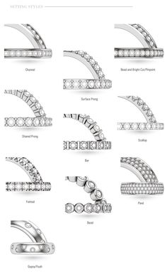Accent diamond setting types. Shared Prong, Scallop, and Surface Prong are pretty. They highlight the diamonds nicely!