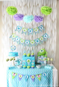 Monsters, Inc/Monsters University inspired birthday party via Love of Family & Home.