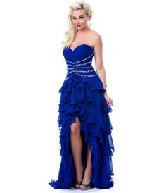 blue high low prom dresses bridesmaid dress