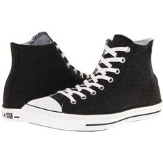 Converse Chuck Taylor All Star Hi Winter Weight Material Lace up... ($37) ❤ liked on Polyvore featuring shoes, sneakers, converse, black, black high-top sneakers, converse sneakers, converse high tops, metallic sneakers and high top shoes