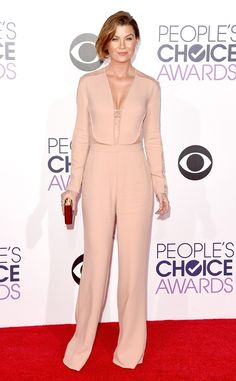 Ellen Pompeo from 2015 People's Choice Awards Red Carpet Arrivals Ellen puts her own twist on the jumpsuit trend in a soft blush Elie Saab version with delicate sheer details.