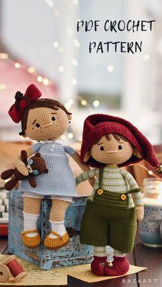 Crochet Dolls Free Patterns, Crochet Doll Pattern, Amigurumi Patterns, Crochet Fairy, Cute Crochet, Handmade Stuffed Animals, Amigurumi Toys, Little Valentine, Stuffed Toys Patterns