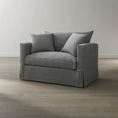 Willow's more modern lines relax in cottage style, instantly putting family rooms, casual living rooms and guest bedrooms in a vacation state of mind.  Deep cushions and a machine-washable slipcover are tailored in a cotton-blend fabric pre-washed for a softer, lived-in touch.
