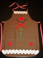 I don& have the tutorial for this but it would be kind of easy to make. Je n& pas les instruction pour faire ceci, mais ça semble assez. Christmas Aprons, Christmas Sewing, Christmas Projects, Holiday Crafts, Gingerbread Crafts, Christmas Gingerbread, Noel Christmas, Cute Aprons, Aprons For Men