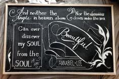 """Edgar Allan Poe chalkboard art... """"Annabel Lee""""!"""