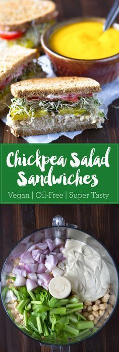 These chickpea salad sandwiches are packed with protein and fiber, and are oil-free to boot! Made with an unusual technique to keep the texture from being mushy. Vegan, oil-free. eatwithinyourmean...