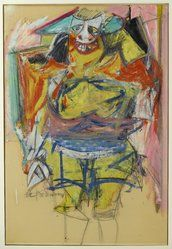 Willem de Kooning (American, born Holland, 1904-1997). Woman, 1953-1954. Oil on paper board, Other: 35 3/4 x 24 3/8in. (90.8 x 61.9cm). Brooklyn Museum, Gift of Mr. and Mrs. Alastair B. Martin, the Guennol Collection, 57.124. © artist or artist's estate