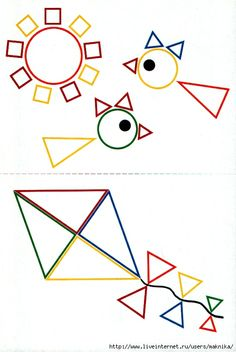 8 Teaching Geometry, Teaching Shapes, Fine Motor Activities For Kids, Math For Kids, Kindergarten Crafts, Preschool Crafts, Triangle Drawing, Triangle Shape, Shape Games