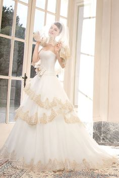 atelier aimee 2014 romina strapless ball gown gold lace