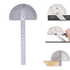 Buscador de ángulo del transportador de acero inoxidable de JMKZone 0-180 grados con la herramienta de regla de medición del brazo de 0-145m m