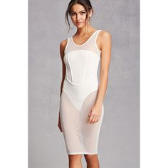 Forever21 Sheer Mesh Corset Combo Dress ($35) ❤ liked on Polyvore featuring dresses, white, white full length dress, white sleeveless dress, forever 21, forever 21 cocktail dresses and white corset