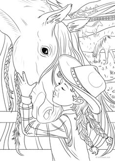 Country Spring Printable Adult Coloring Pages from Favoreads People Coloring Pages, Horse Coloring Pages, Printable Adult Coloring Pages, Coloring Pages For Girls, Cute Coloring Pages, Coloring Pages To Print, Coloring Books, Shopkins Colouring Pages, Outline Art