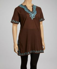 This Brown & Turquoise Embroidered V-Neck Tunic - Plus is perfect! #zulilyfinds