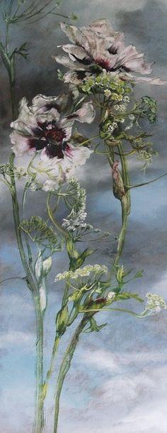 Claire Basler - COntemporary Artist - Flowers Plus Botanical Art, Botanical Illustration, Illustration Art, Arte Floral, Art For Art Sake, French Artists, Artist Painting, Contemporary Artists, Painting Inspiration