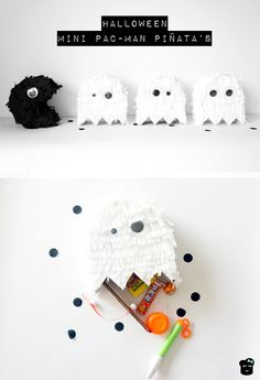 Mini Pacman Piñata's voor Halloween  http://broterhammenmetgeleconfituur.blogspot.be/2015/10/mini-pac-man-pinatas-voor-halloween.html