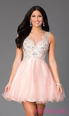 Short Sleeveless Party Dress with Illusion Bodice at PromGirl.com