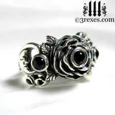 3 Rexes Jewelry - Silver Rose Moon Spider Ring, $155.00 (http://www.3rexes.com/silver-rose-moon-spider-ring/) #silverweddingrings #fairytale #flower #moon #spider  #silverrings #gothicrings #blackrings #blackonyx #3rexesjewelry