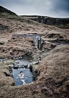 Hrunalaug hot springs in the South of Iceland.